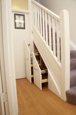 understairs pullout shoe storage by Deriba - #sneakystorage stairs
