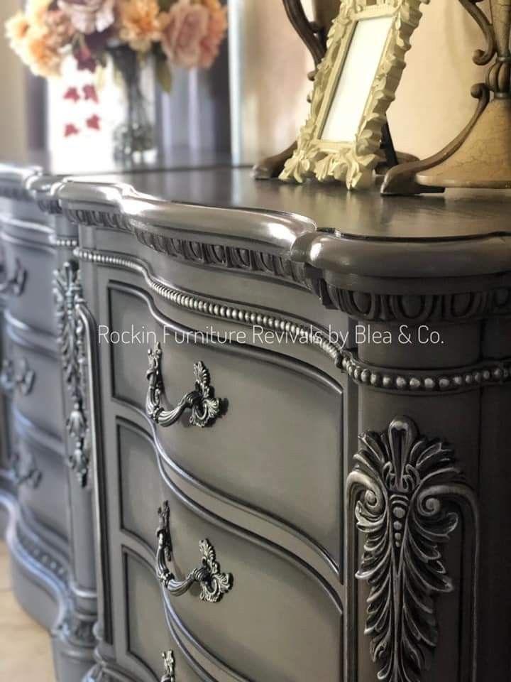 Silver Painted Furniture, Dark Gray Chalk Paint Furniture