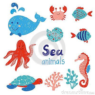 Морские животные установленные в красные и голубые цвета