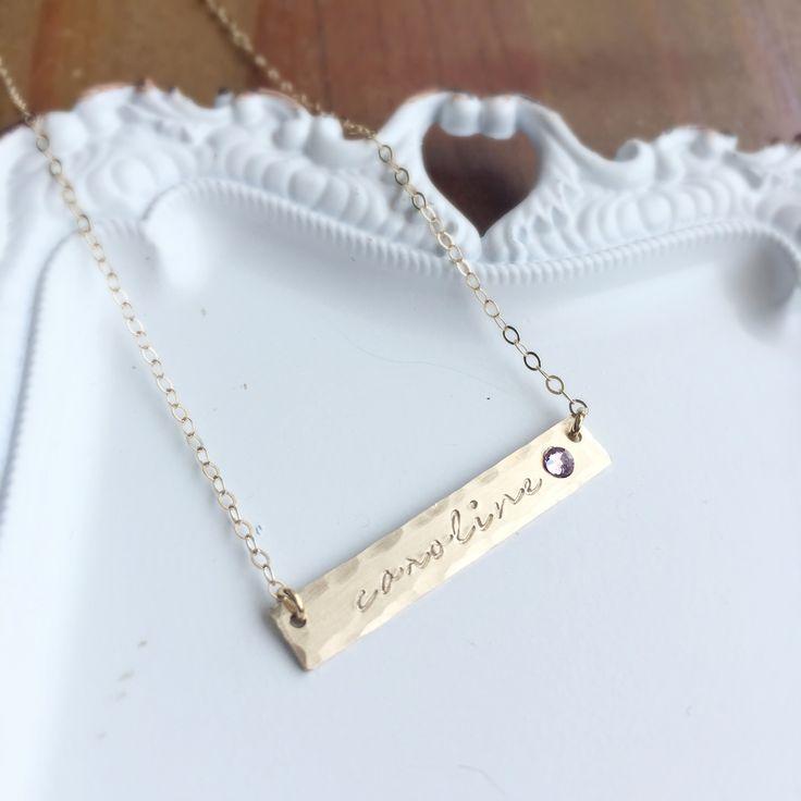 Birthstone & Name Bar Necklace