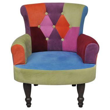 Lot de 2 fauteuil avec accoudoirs design patchwork multi couleur[2/5]