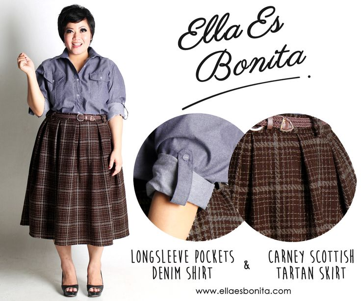 Long Sleeve Pockets Denim Shirt & Carney Scottish Tartan Skirt - This vintage shirt and skirt features high quality chambray denim for shirt, thick wooven wool for skirt, and rayon for furing which specially designed for sophisticated curvy women originally made by Indonesian Designer & Local Brand: Ella Es Bonita. Available at www.ellaesbonita.com