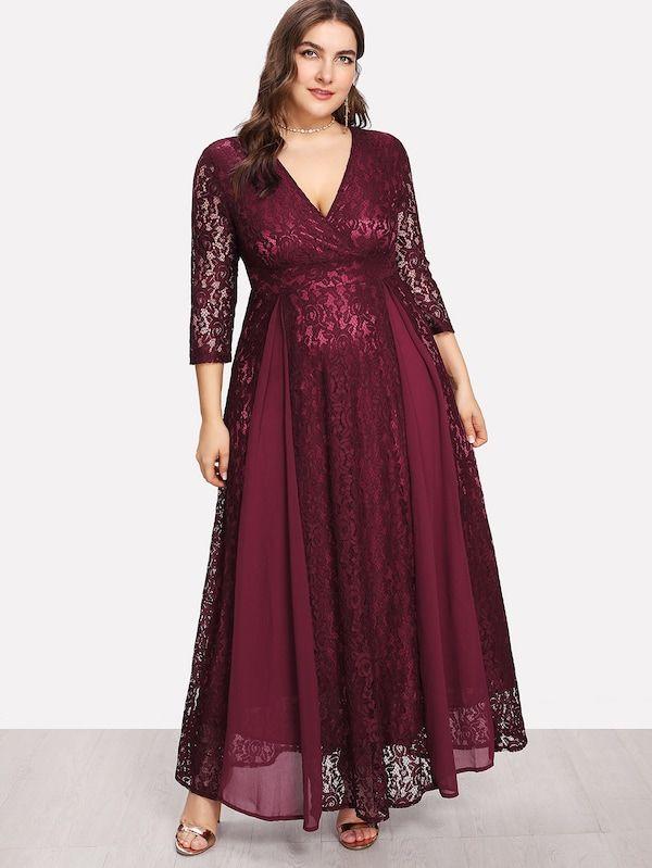 Plus High Waist Lace Overlay Wrap Dress Sheinsheinside En