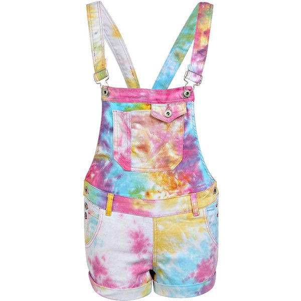 Boohoo Sienna Multi Coloured Tie Dye Denim Dungaree Shorts featuring polyvore, fashion, clothing, shorts, bottoms, rompers, overalls and denim dungaree