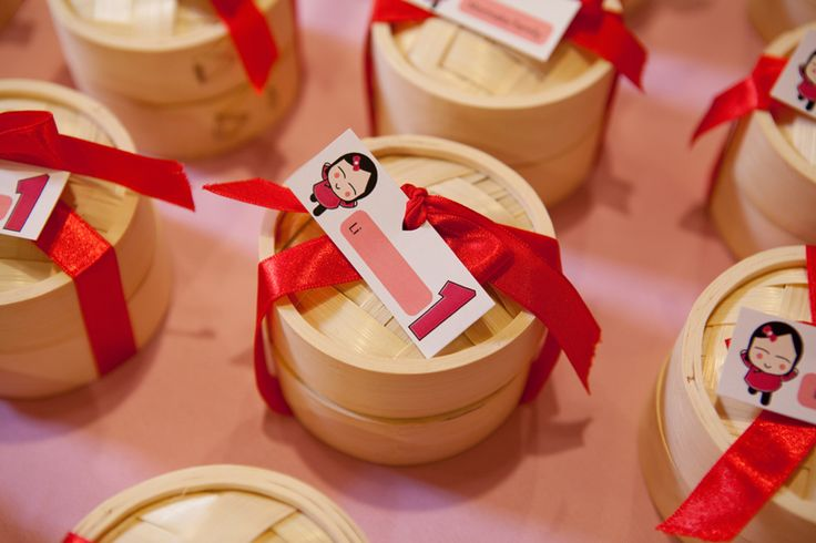 Chinese new year favors. Nice Chinese steamers wrapped to delight!