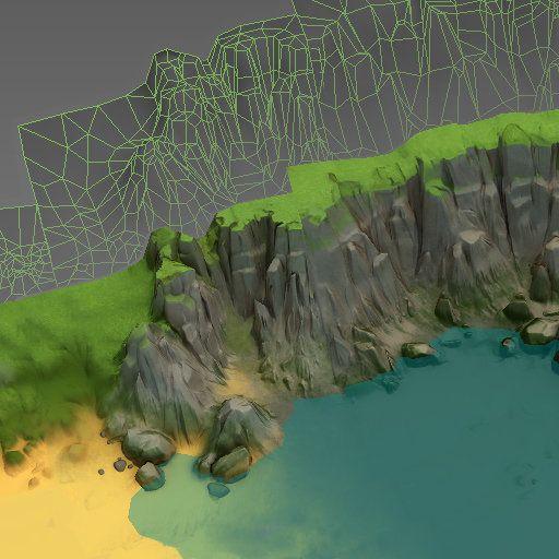Tileable seashore cliffs, Alina Ivanchenko on ArtStation at https://www.artstation.com/artwork/tileable-seashore-cliffs