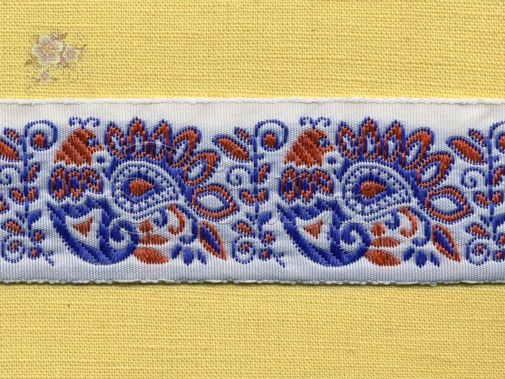 9017c02  Жаккардовая лента. Красно-синий на белом.