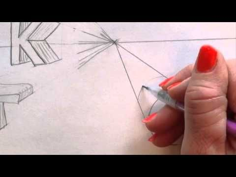 How to draw Letters in 1 point perspective - YouTube