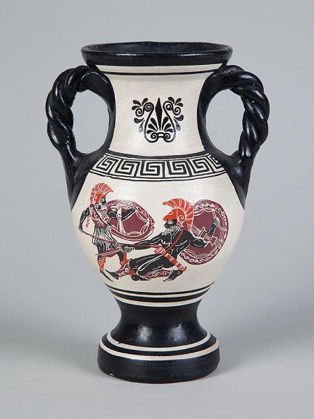 Antiga Ânfora Grega com desenhos mitológicos da Grécia antiga, Alt. 20 cm.