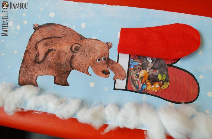 Voici une proposition de production en arts visuels en lien avec « La Moufle » de Florence Desnouveaux et Cécile Hudrisier (niveau PS). Il s'agit du moment où Ours Potelé veut entrer ! Réalisation en trois ateliers : – 1 – Gouache bleu ciel étalée sur toute la surface du support avec un rouleau. Puis flocons …