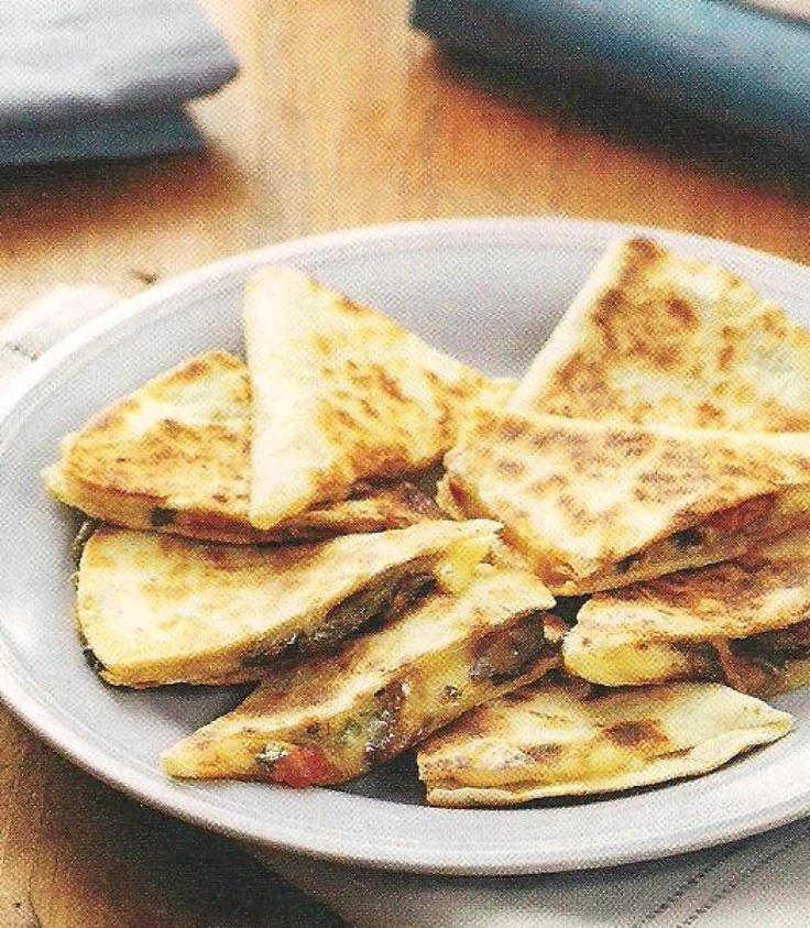 Yum... I'd Pinch That! | Mushroom and Swiss quesadillas