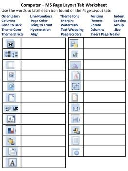 MS Word Ribbon - Page Layout Tab Worksheet | Word Processing | Page ...