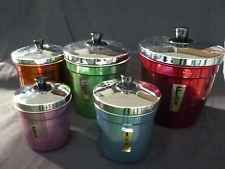 MID CENTURY DE-LUXE  HARLEQUIN CANISTERS ANODISED SET 5 RETRO 1960's