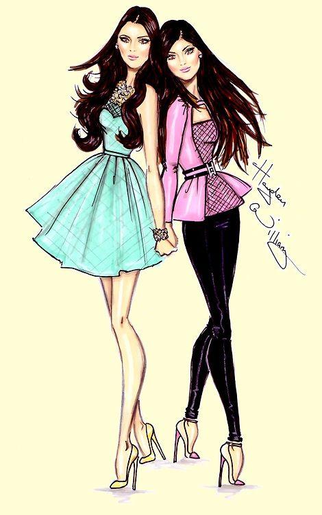#Hayden Williams Fashion Illustrations:  #Kendall & Kylie by Hayden Williams
