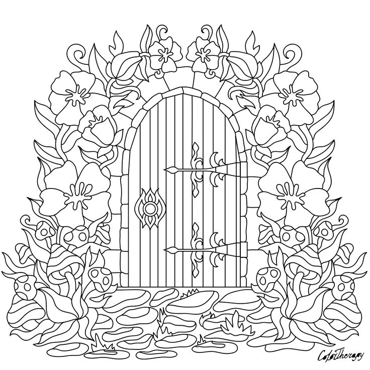 Garden Gate Door Flowers To Color With Therapy