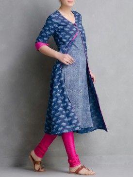 Indigo Hand Block Printed Layered Cotton Kurta by Aavaran