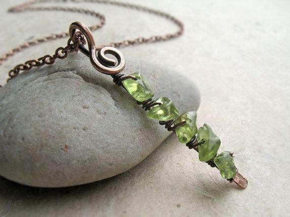 Peridot Copper Pendant Bar Necklace Silver Minimalist