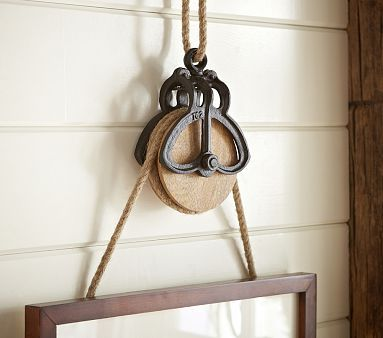 Rustic Pulley Frame Hanger with Rope #pbkids- selecting to do 3 of these along with the 16x16 espresso gallery frames above the changing table area with pics of the lakefront & navy pier.