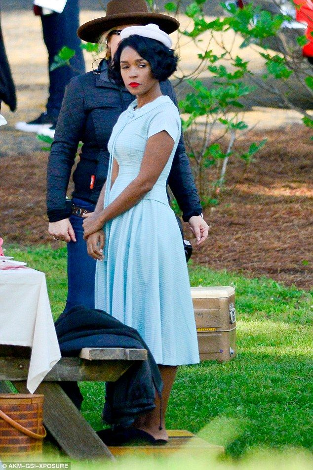 Demure dress: The 30-year-old singer-actress Janelle Monae looked gorgeous in a pale blue ...