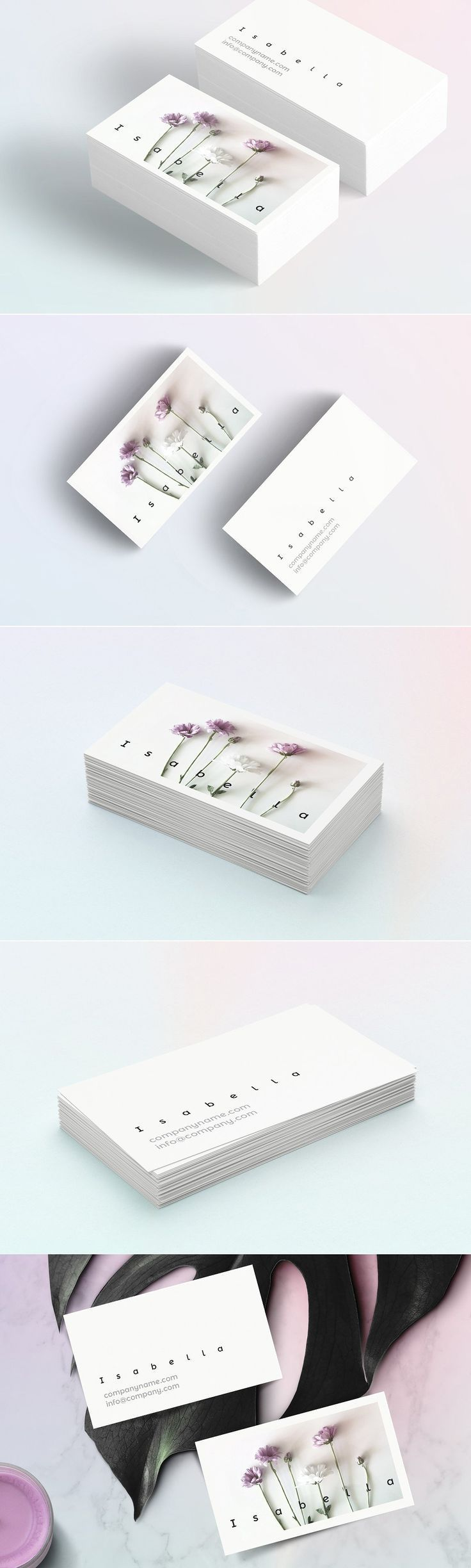 Isabella-floral business card by Polar Vectors on @creativemarket Professional business card template, perfect for modern and cool corporate appearance for business companies or personal persons. This layout is simple, handmade, unique and for multipurpose opportunities; have a good inspiration, grab some ideas and DIY.