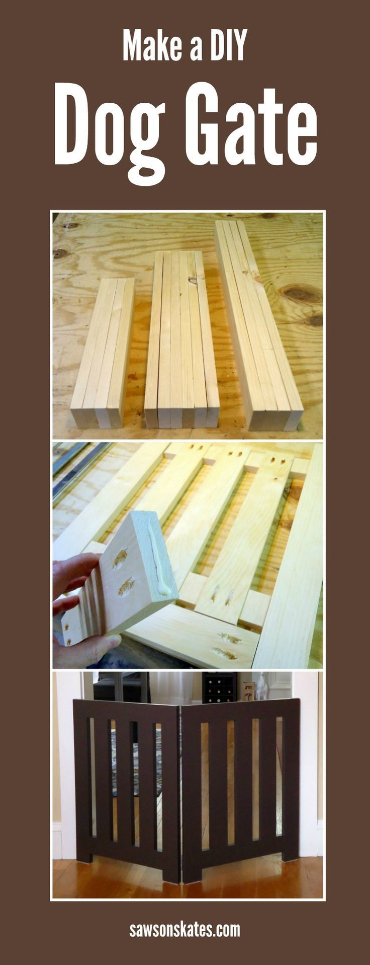 Looking for homemade pet gate ideas that look store bought and that your doggies will love? Check out this indoor DIY plan for a folding free standing dog gate. It's easy to build,  decorative enough to leave out and neatly folds when not in use. FREE PLANS!
