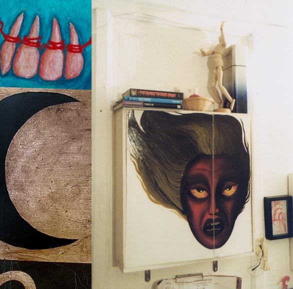 """mueble resucitado & pintado.  """"risen-from-trash"""" medicine cabinet, also painted."""
