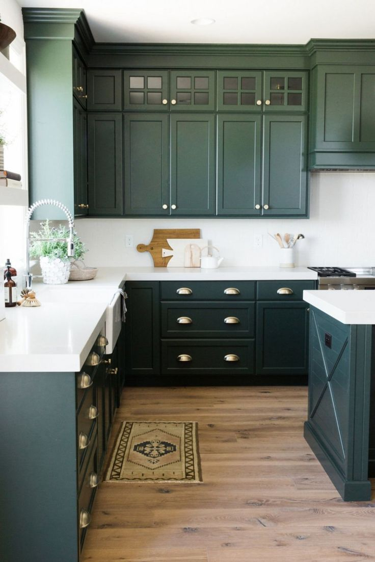 Dark Sage Green Grey Kitchen With White Stone Counter Tops And Wood Floors Kitchen Cabinet Inspiration Painted Kitchen Cabinets Colors Dark Green Kitchen