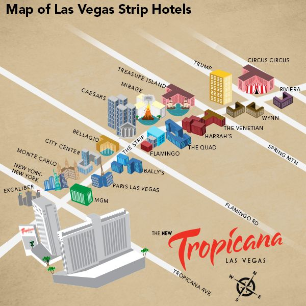 Hotel map strip vegas