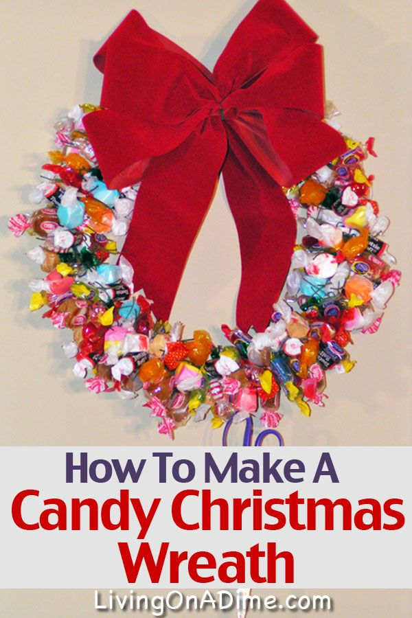 A Christmas Candy Wreath is a simple project the entire family will love! It is festive and kids and guests love cutting a piece of candy when they visit!