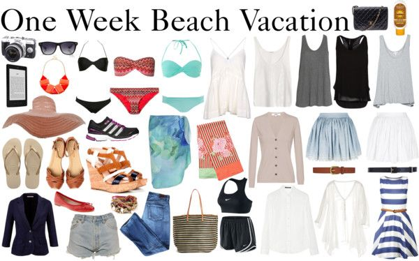 For a week in the sun: Camera, Kindle, 3 swimsuits,sun hat,sunglasses, workout,1 pair rubber sandals, 1 pair day sandals, 1 day evening sandals, 1 pair bright flats, 1 neutral cardigan, 1 blazer, 1 pair neutral shorts, 1 pair jeans,canvas tote, 1 large button down white linen shirt, 2 skirts, 1 tunic, 2 belts,1 day to night dress, 1 evening purse/clutch, sunscreen, 5 tank tops,jewelry