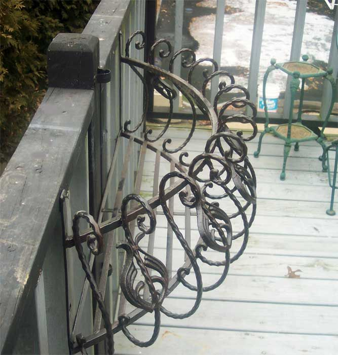 "wrought iron planters for window box | 35"" Iron Curved Window Box Wall Planter Antique Black 