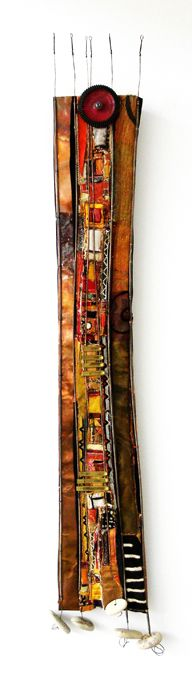"""15"""" X 70""""; textiles (embellished, embroidered, woven and painted, including African mud cloth), copper, piano wire, stones."""