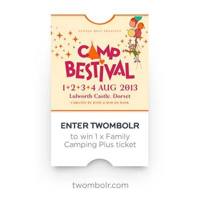 Roll up roll up, it's Twombolr time! What's a Twombolr you ask? Well, it's a Twitter-powered tombola with a winning prize of a Family Camping Plus ticket for 2 adults and up to 4 kids. If you're a Tweeter, follow the link and the instructions to enter - we'll be drawing one lucky winner out of the digital Twombolr bag on Thursday evening at 7pm http://twombolr.com/ (and if you've already bought 2013 tickets and you win then we can upgrade you to Camping Plus!)