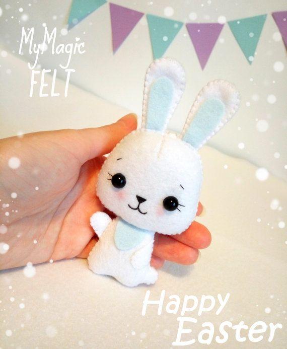 Decoración de Pascua conejito blanco adornos por MyMagicFelt