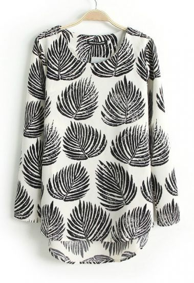 Black Long Sleeve Leaves Print Dipped Hem Blouse by: SheInside