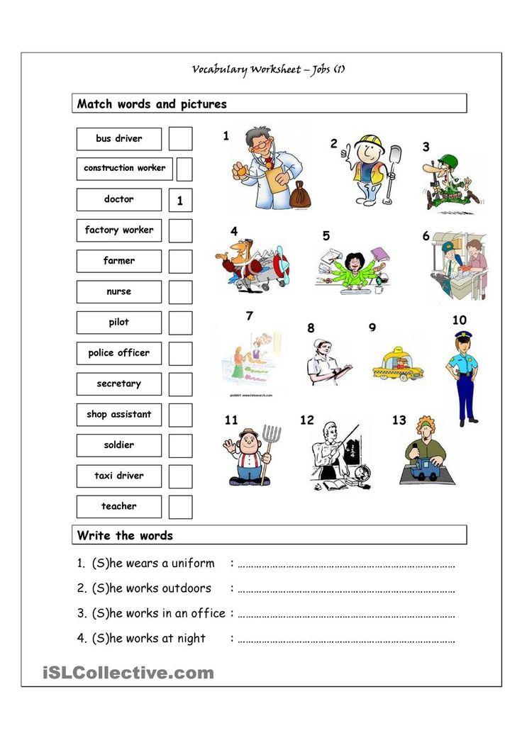 Vocabulary Matching Worksheet - Jobs (1)