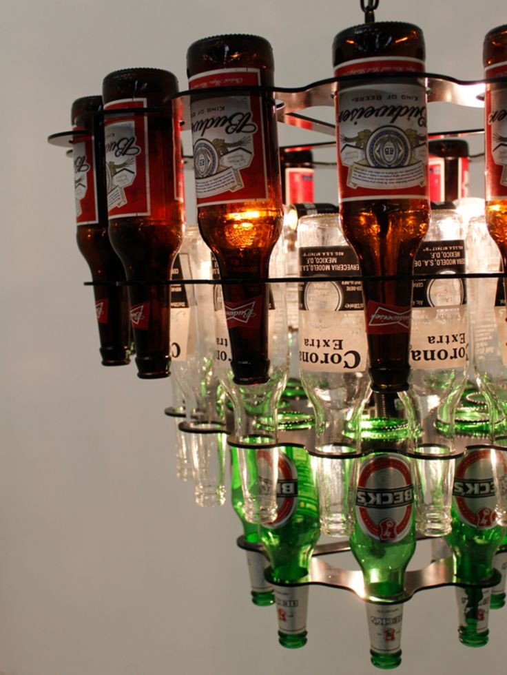Unique three tiered beer bottle chandelier by Chantelle Lighitng.