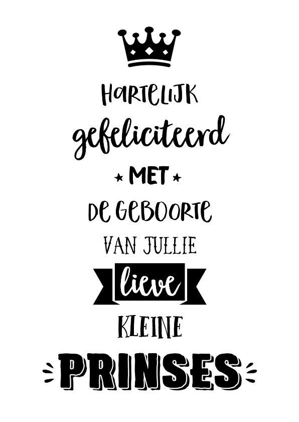 Hippe kaart in zwart-witte handlettering stijl met de tekst 'Hartelijk gefeliciteerd met de geboorte van jullie lieve kleine prinses'.