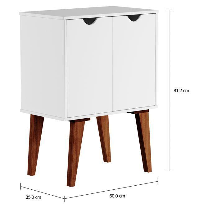 Lin Buffet 2 Portas 60x35 Branco Nozes Design Retro Moveis E