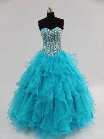 2013 Organza blue prom dress