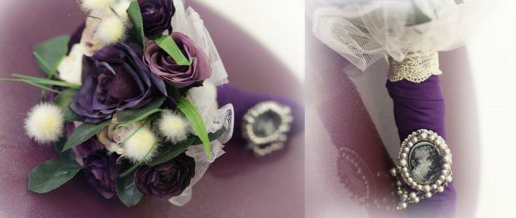 Mor düğün buketi