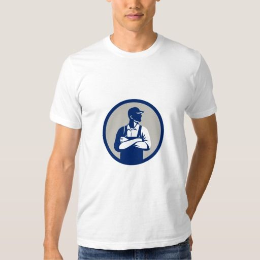 Organic Farmer Arms Folded Looking Side Circle Ret T-shirt. Illustration of an organic farmer wearing hat and overalls arms folded looking to the side viewed from front set inside circle on isolated background done in retro style. #Illustration #OrganicFarmerArmsFolded