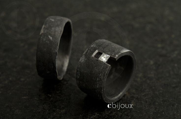 alliances mariage brutes en tantale et diamant taille princesse - cbijoux- création de bijoux contemporains, Suisse