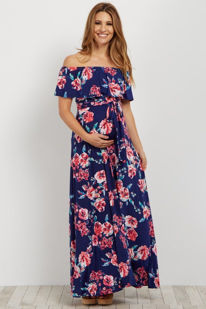 de27d26593 Floral printed off shoulder maternity maxi dress. Sash tie. Cinched  neckline with ruffle trim. This style was created to be worn before