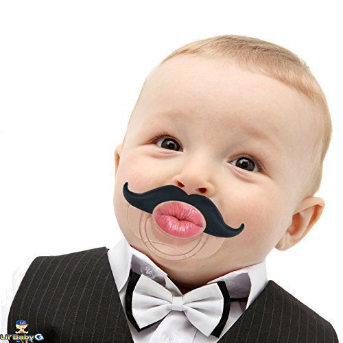 Funny Baby Pacifier Cute Kissable Mustache Pacifier For Babies and Toddlers Unisex - BPA Free Latex Free made With Silicone - Barber Black - By BabyStache - BABY PACIFIER WITH CUTE KISSABLE AND FUNNY MUSTACHE FOR BABIES & TODDLERS. The Funny Mustache Baby Pacifiers makes the Best Baby Shower Gift. Made with high grade silicone, leaving no detectable taste or odor. The cute kissable mustache pacifier has a natural orthodontic shape, known to help with...