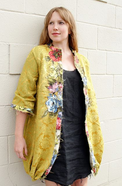 """Center"" Coat : handmade by Melanie Wesley. vintage fabrics, hand stitching…"