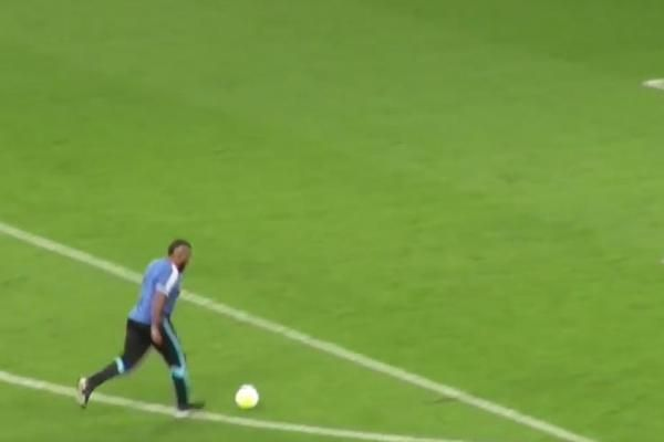 A fan of the French soccer club Olympique Marseille scored the first goal for his team during the ceremonial kickoff.