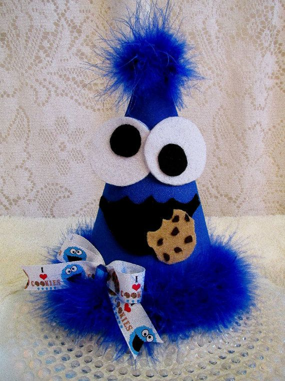 Cookie monster all fabric party hat sesame street party for Monster themed fabric