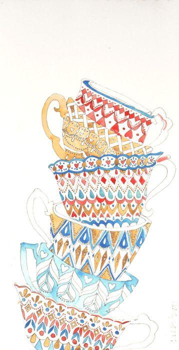 {tea cups}Stacked Teacups, Teas Time, Teas Cups, Lina Moysi, Teacups Art, Illustration Drawing Prints, Teacups Stacked, Teacups Obsession, Line Drawing