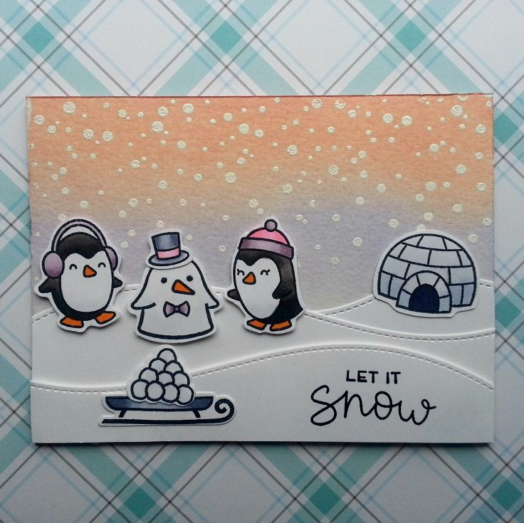 I just love this Snow Cool stamp set from Lawn Fawn. I used it for this cute winter scene.      I started on the background. I stamped the s...